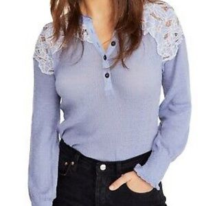 Free People Floral Henley